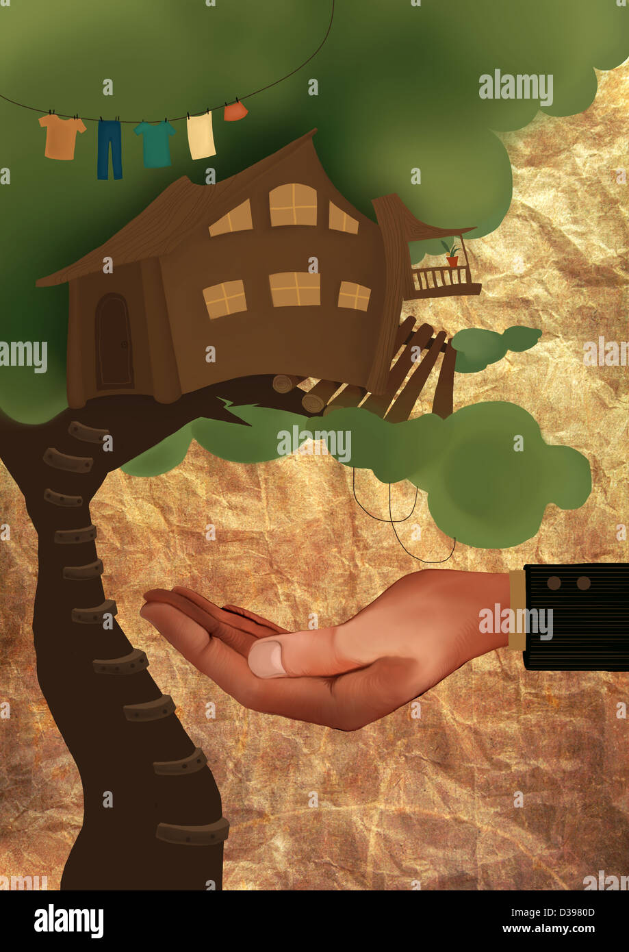 Human hand safeguarding treehouse from falling depicting home insurance - Stock Image