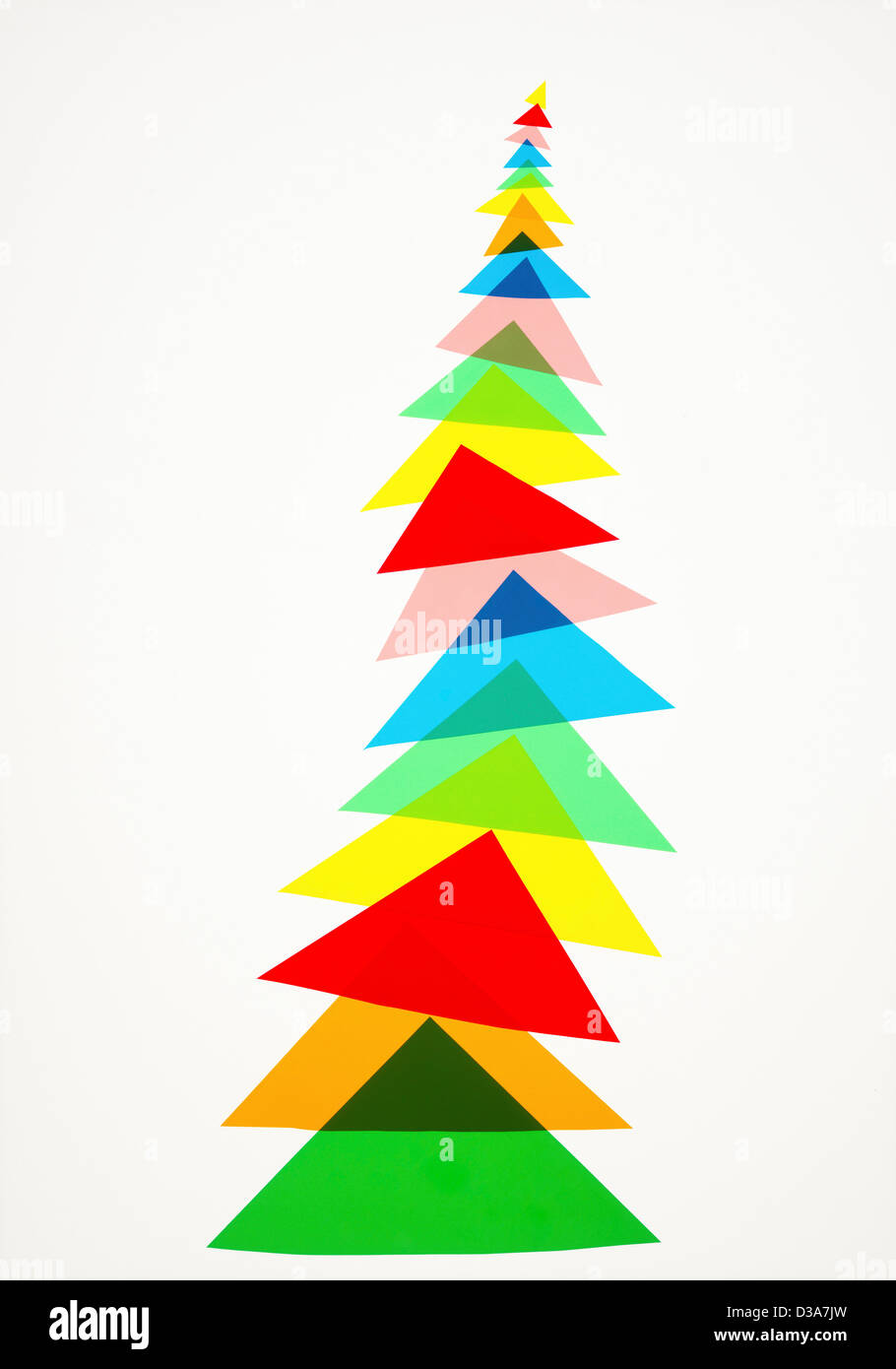 Illustration of colorful triangles - Stock Image