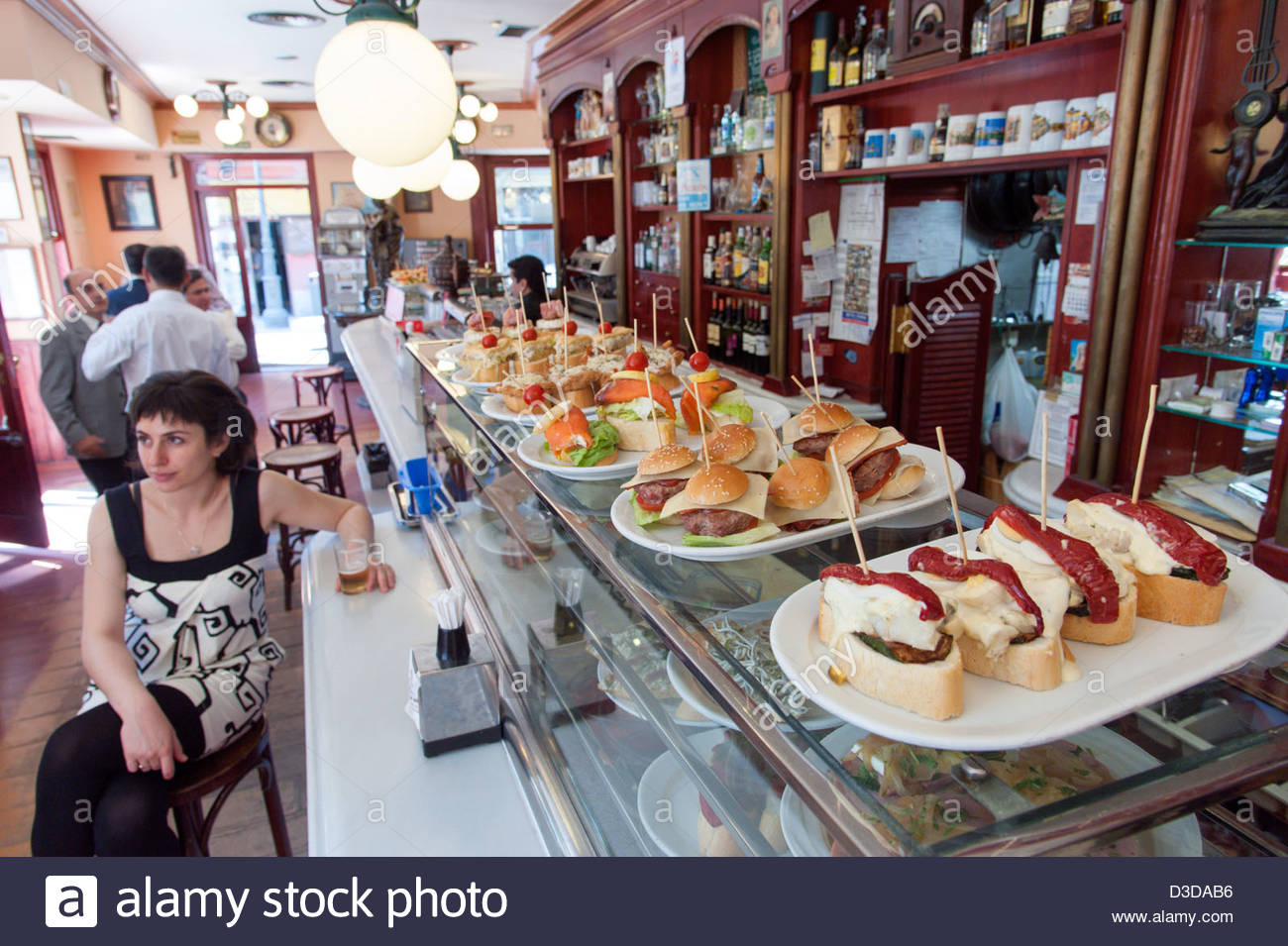 Pinchos on bar counter in the Barrio de las Letras, Madrid, Spain Stock Photo