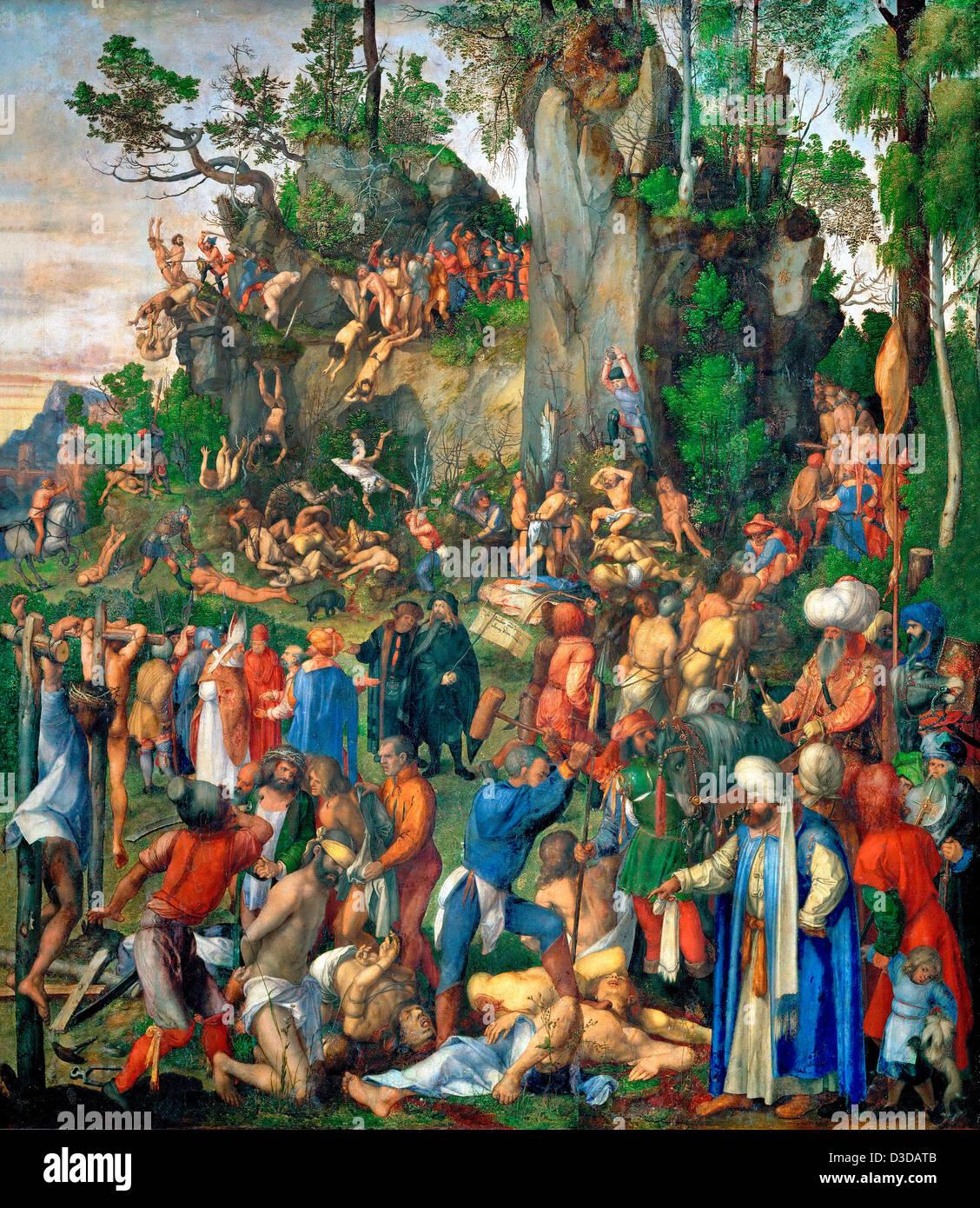 Albrecht Durer, The Martyrdom of the Ten Thousand 1507 Oil on panel. Kunsthistorisches Museum, Vienna - Stock Image