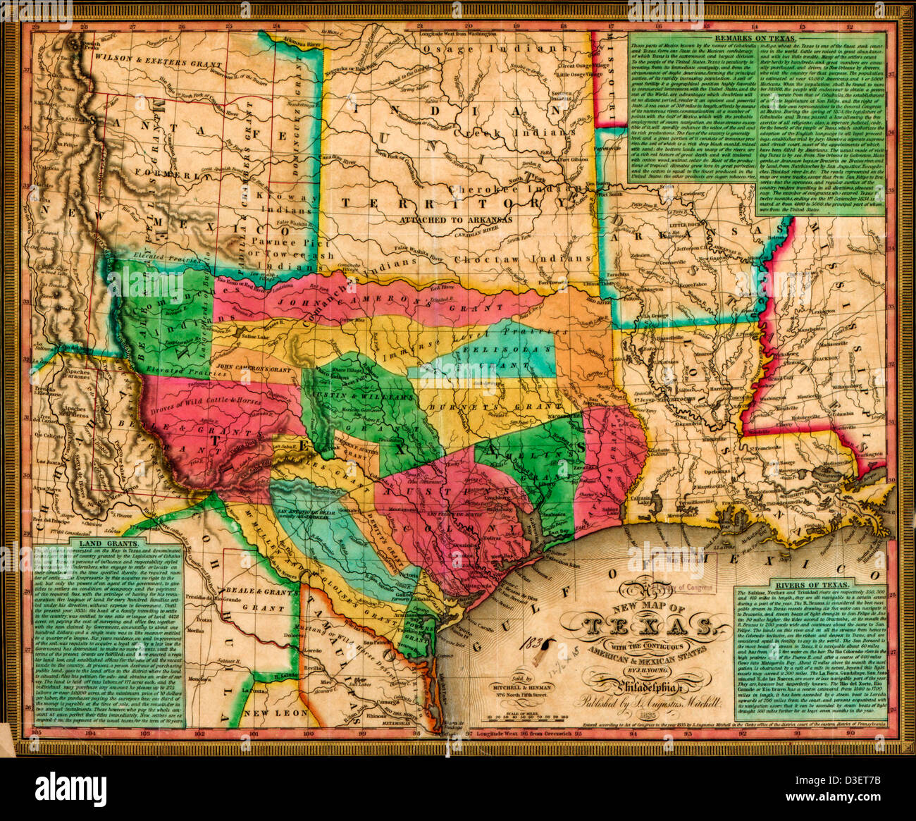 New map of Texas : with the contiguous American & Mexican states ...