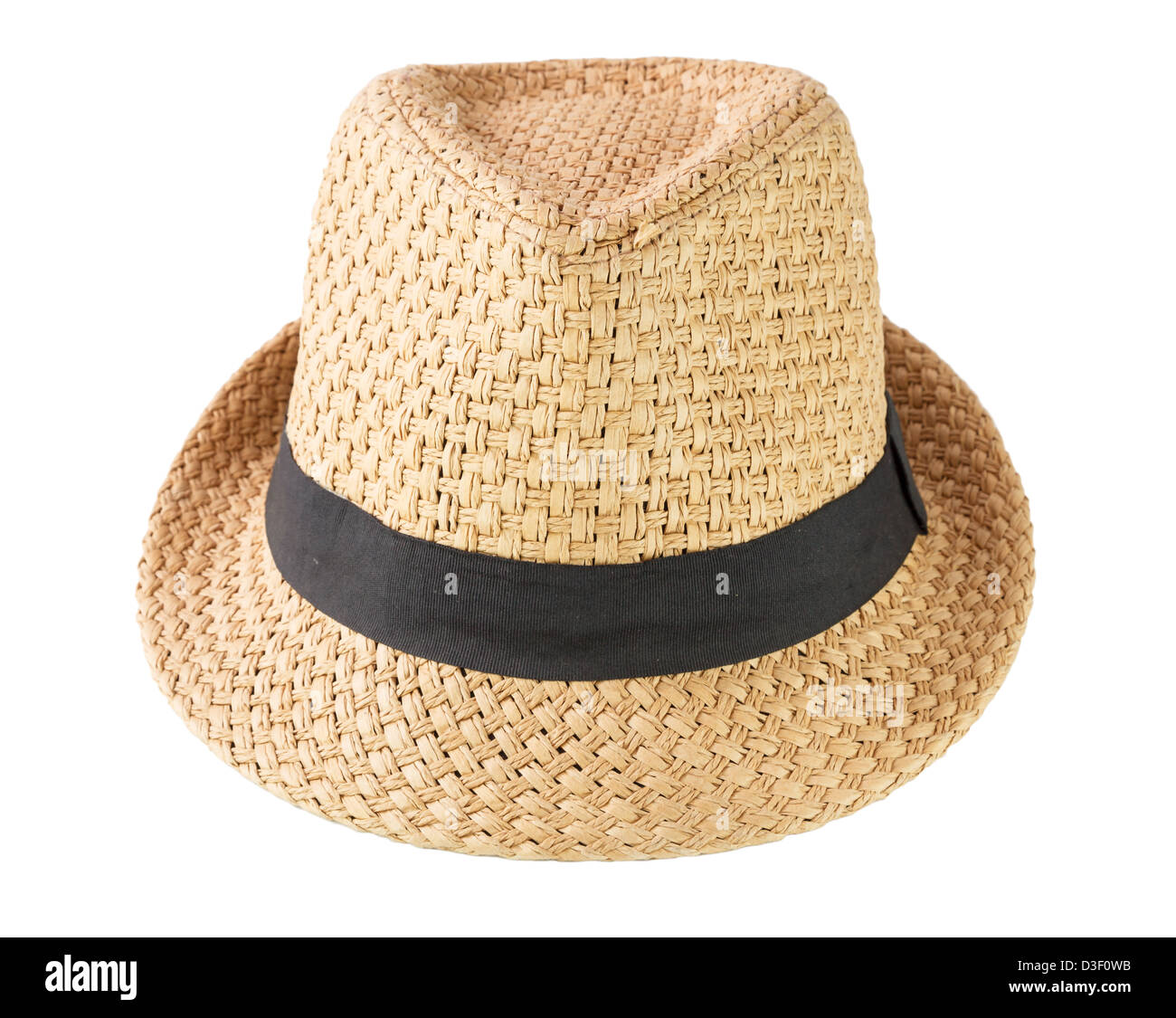 A woven fashion hat isolate on white background - Stock Image