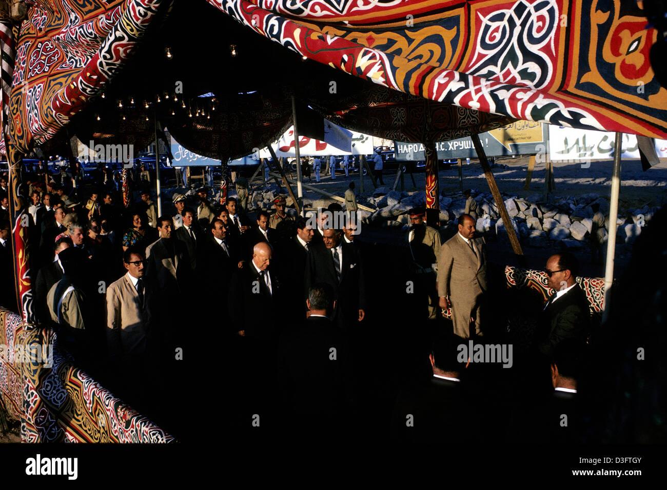 Nikita Kruschev and Gamal Abdel Nasser inauguration the Aswan High Dam, Egypt in 1964. - Stock Image