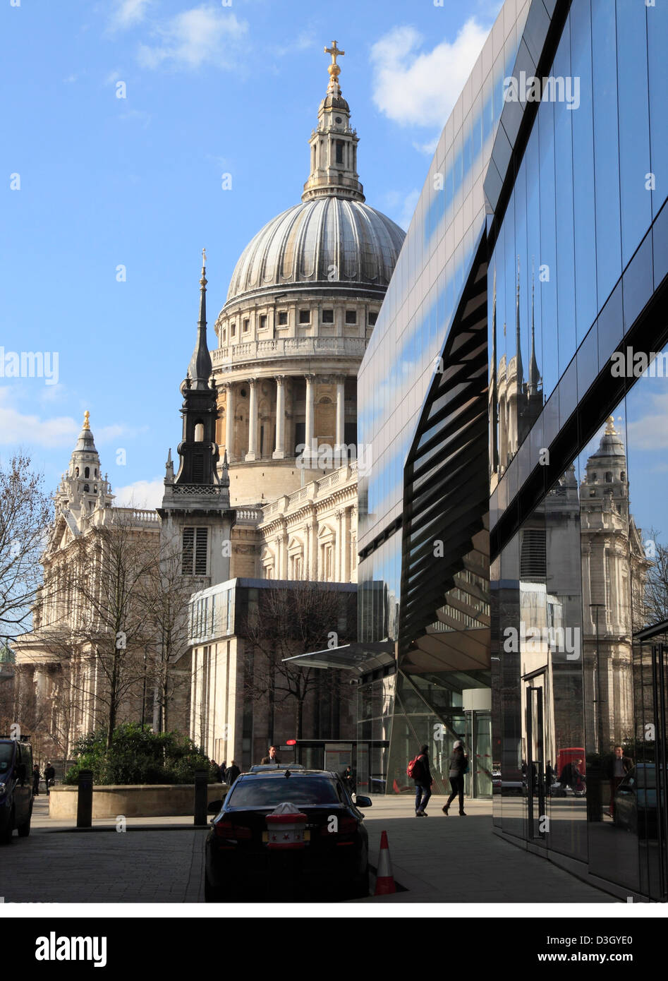 St Paul's Cathedral reflected in office buildings in the City of London England UK GB - Stock Image