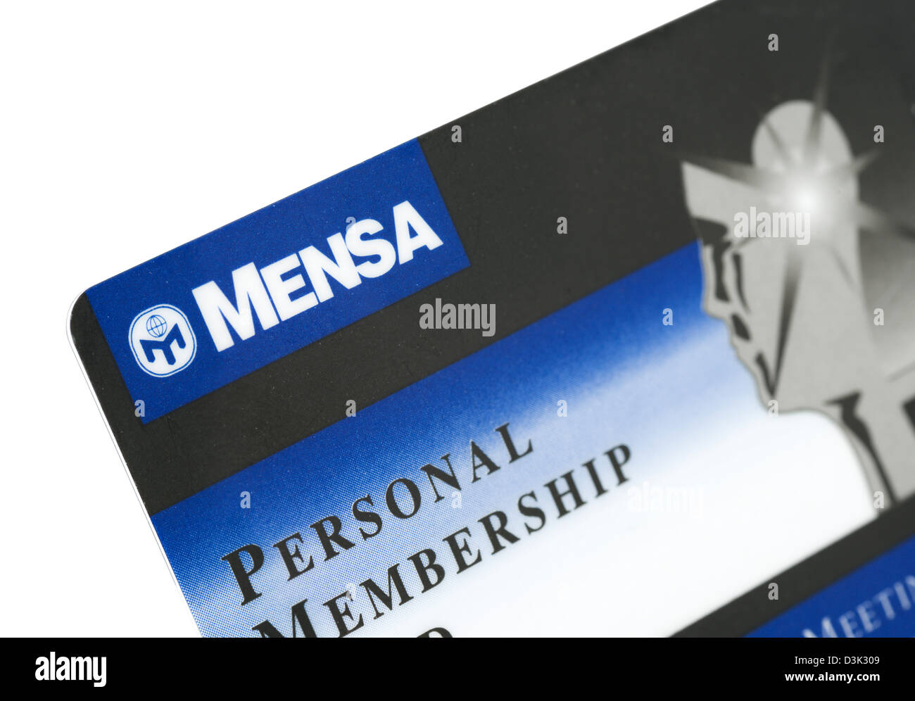 membership card for mensa the high iq society uk stock photo