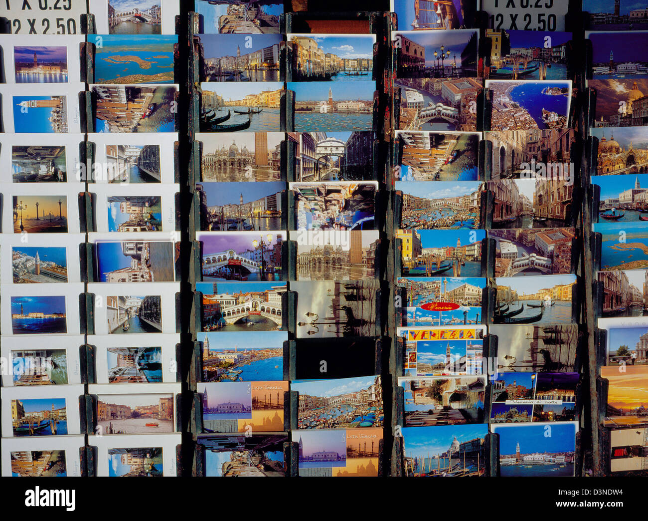 Postcards of Venice are on sale in a souvenir shop in Venice, Italy, February 2005. Photo: Willy Matheisl - Stock Image