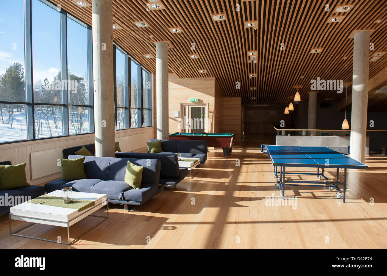 First floor with billiard, table tennis and lounge area at the Geilo Kulturkyrkje in Geilo, Hallingdal, Norway - Stock Image