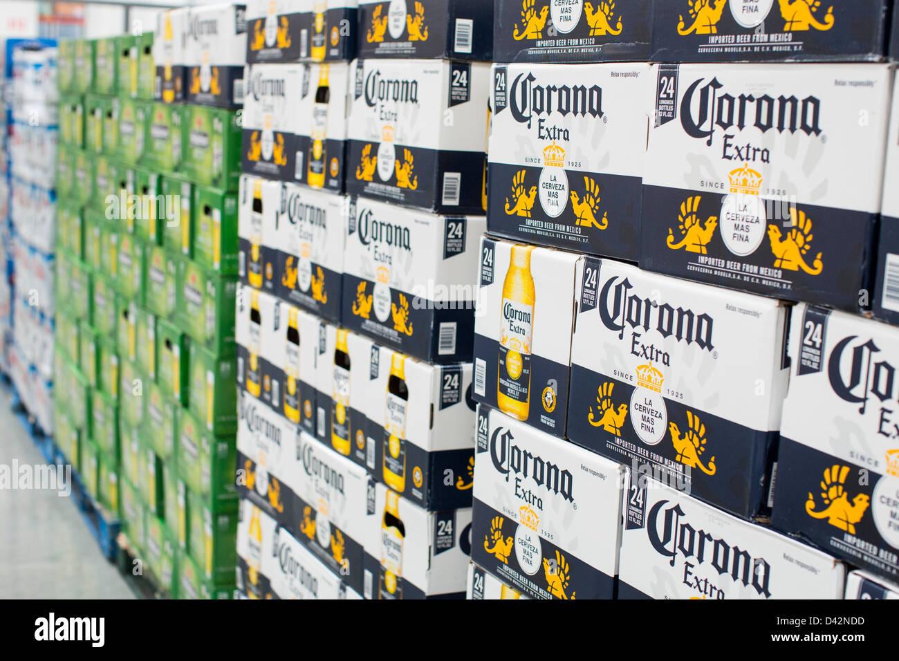 Corona beer on display at a costco wholesale warehouse club stock corona beer on display at a costco wholesale warehouse club thecheapjerseys Images
