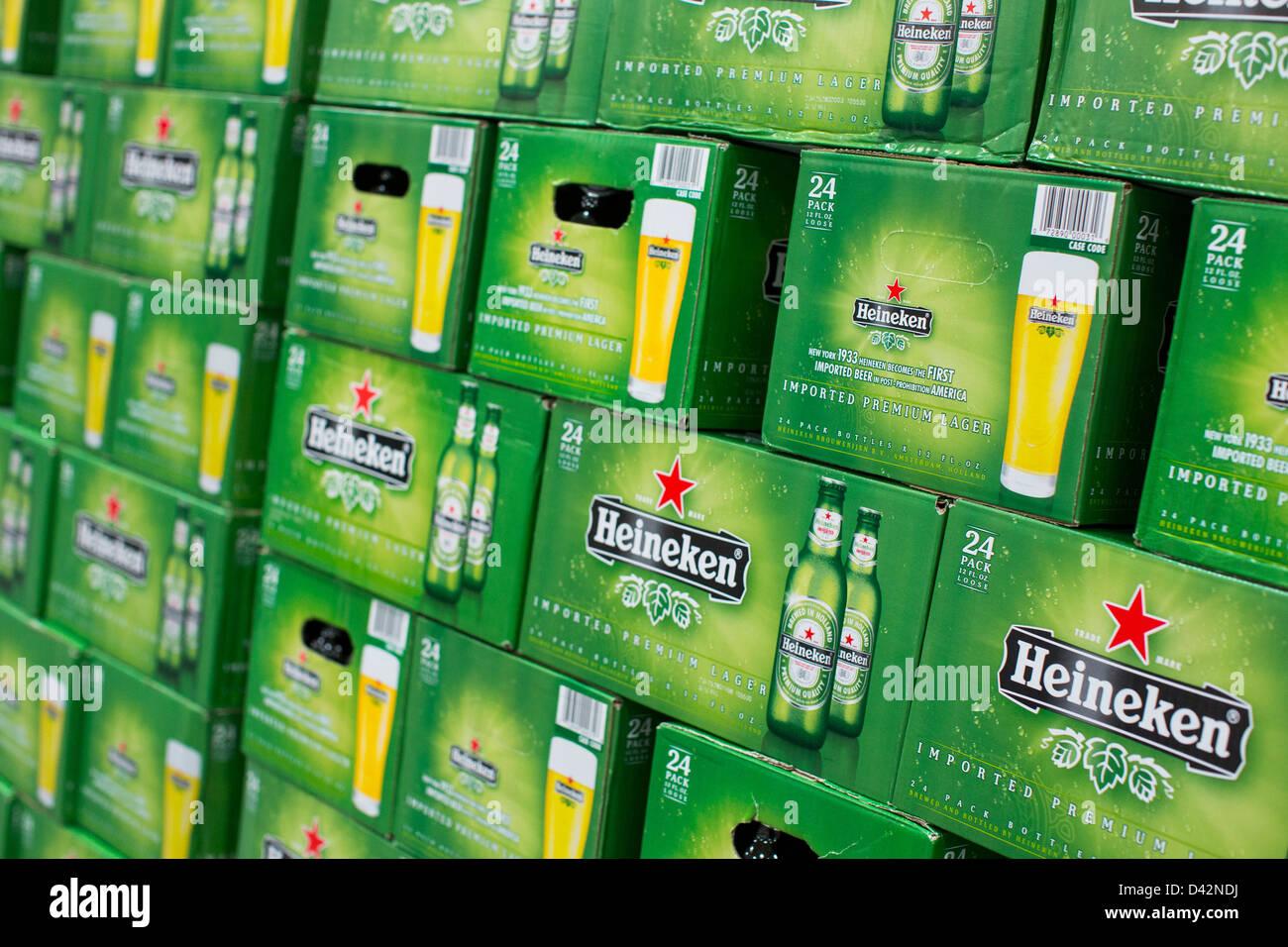 Heineken beer on display at a costco wholesale warehouse club stock heineken beer on display at a costco wholesale warehouse club thecheapjerseys Images