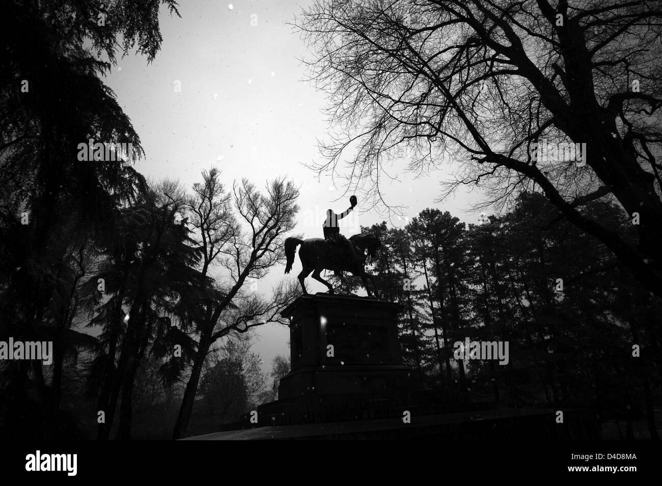 Milan. Sempione park. Statue of a man on horseback - Stock Image