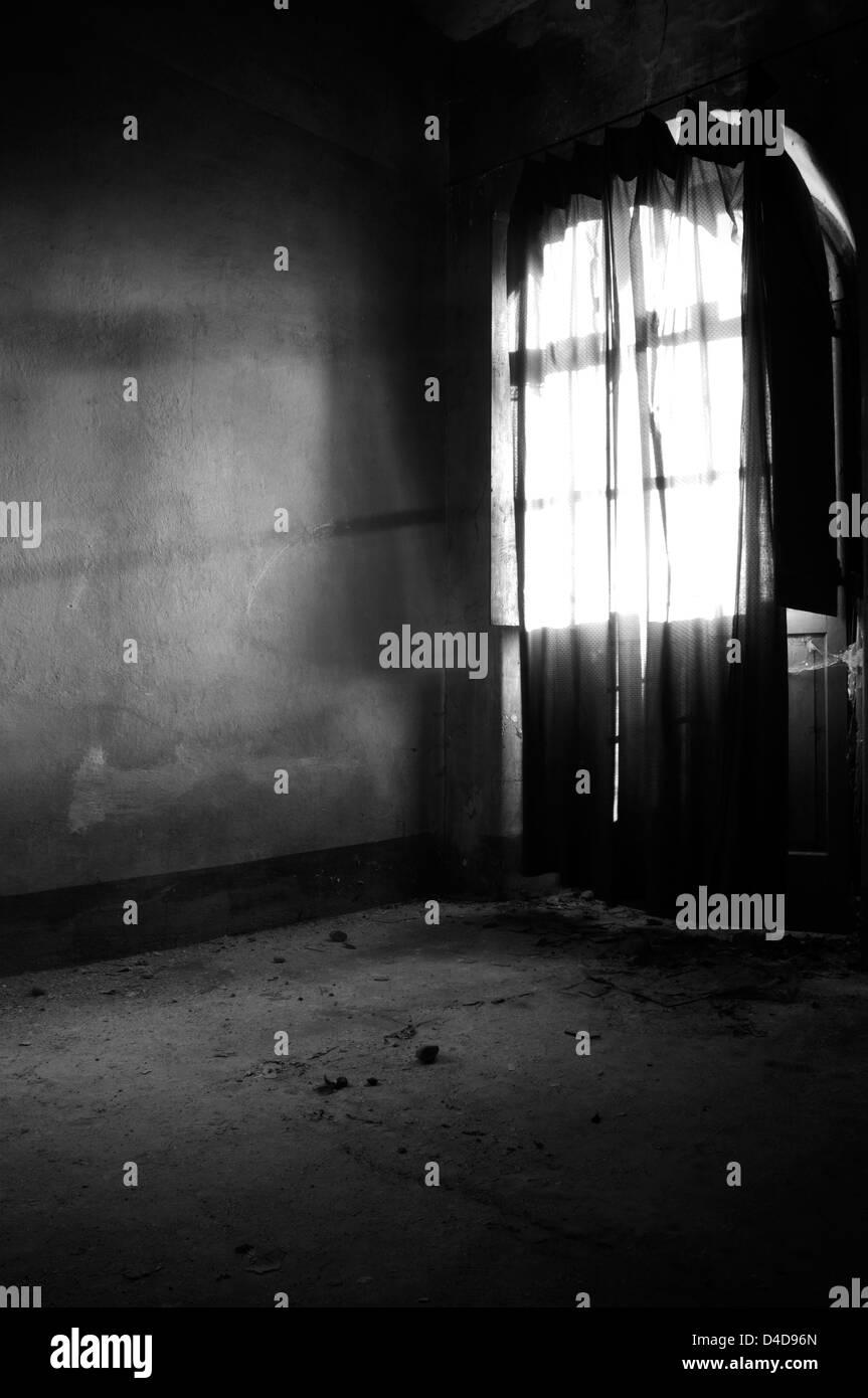 Abandoned dwelling room - Stock Image