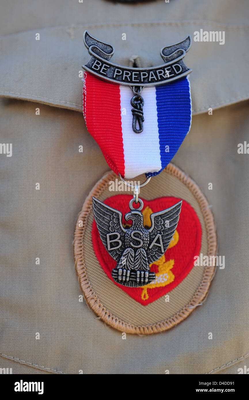 Boy Scouts of America close up of an Eagle Scout with Eagle Pin Stock Photo