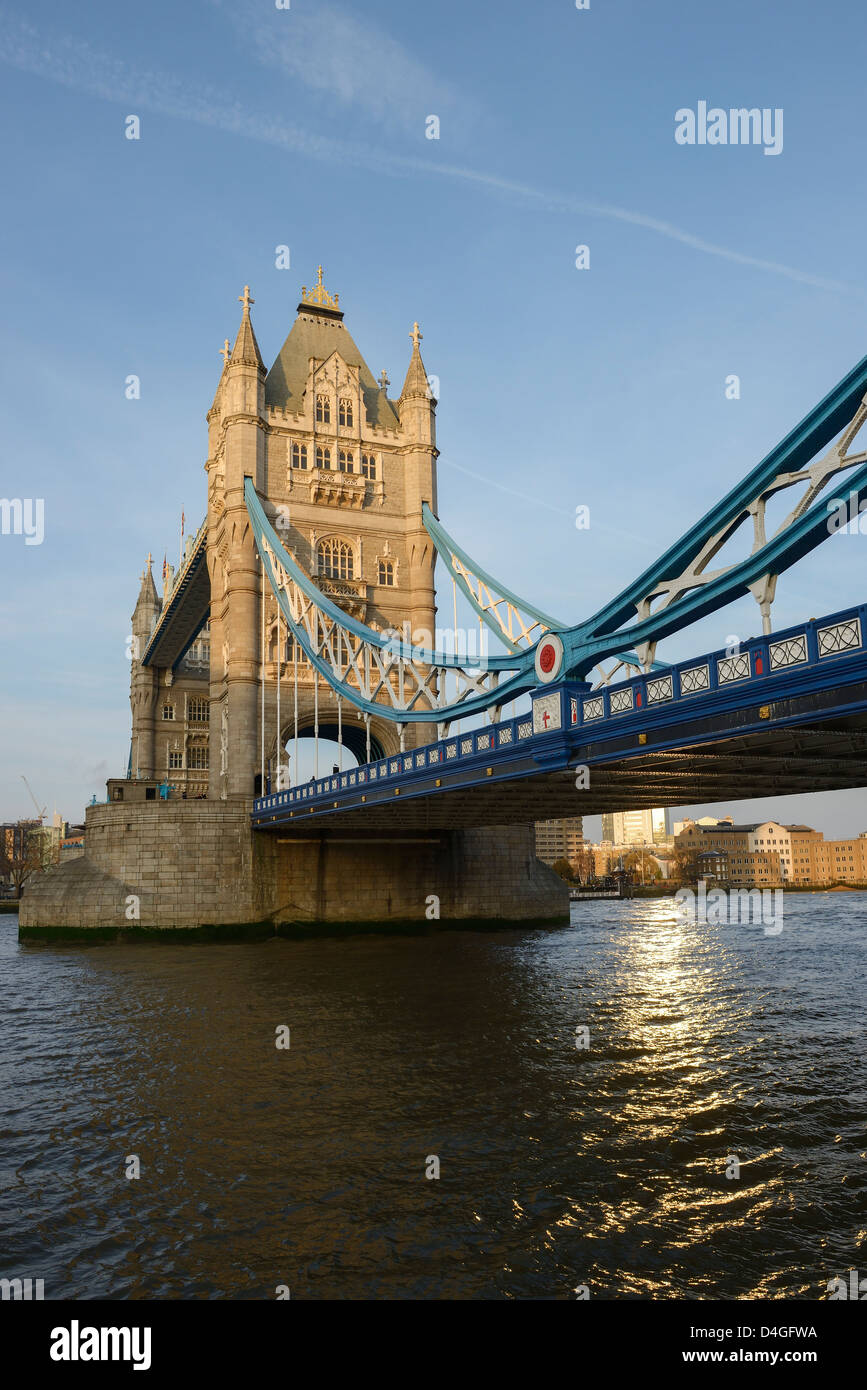 Tower Bridge at night London UK - Stock Image