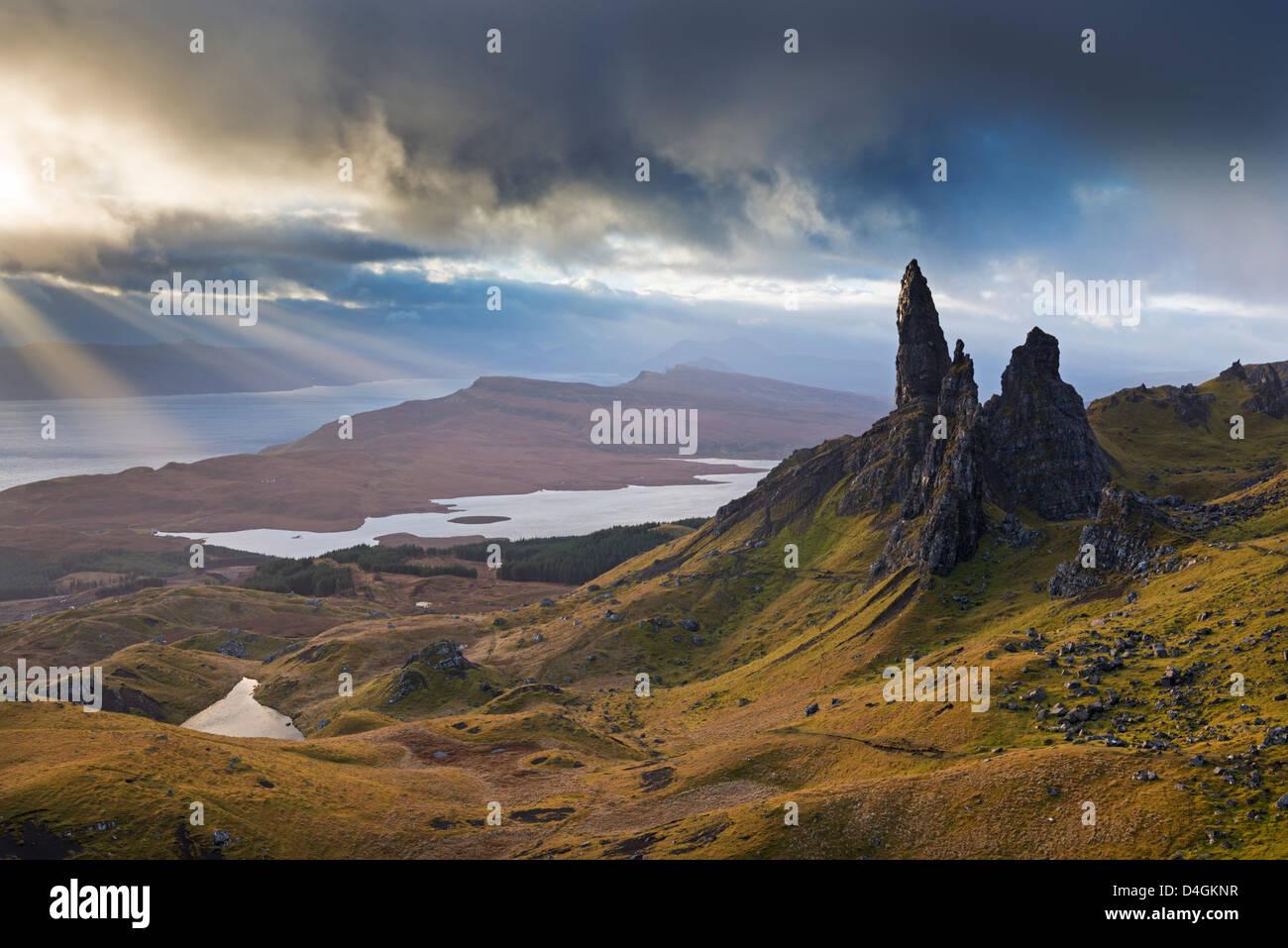 Dramatic landscape at the Old Man of Storr, Isle of Skye, Scotland. Autumn (November) 2012 - Stock Image