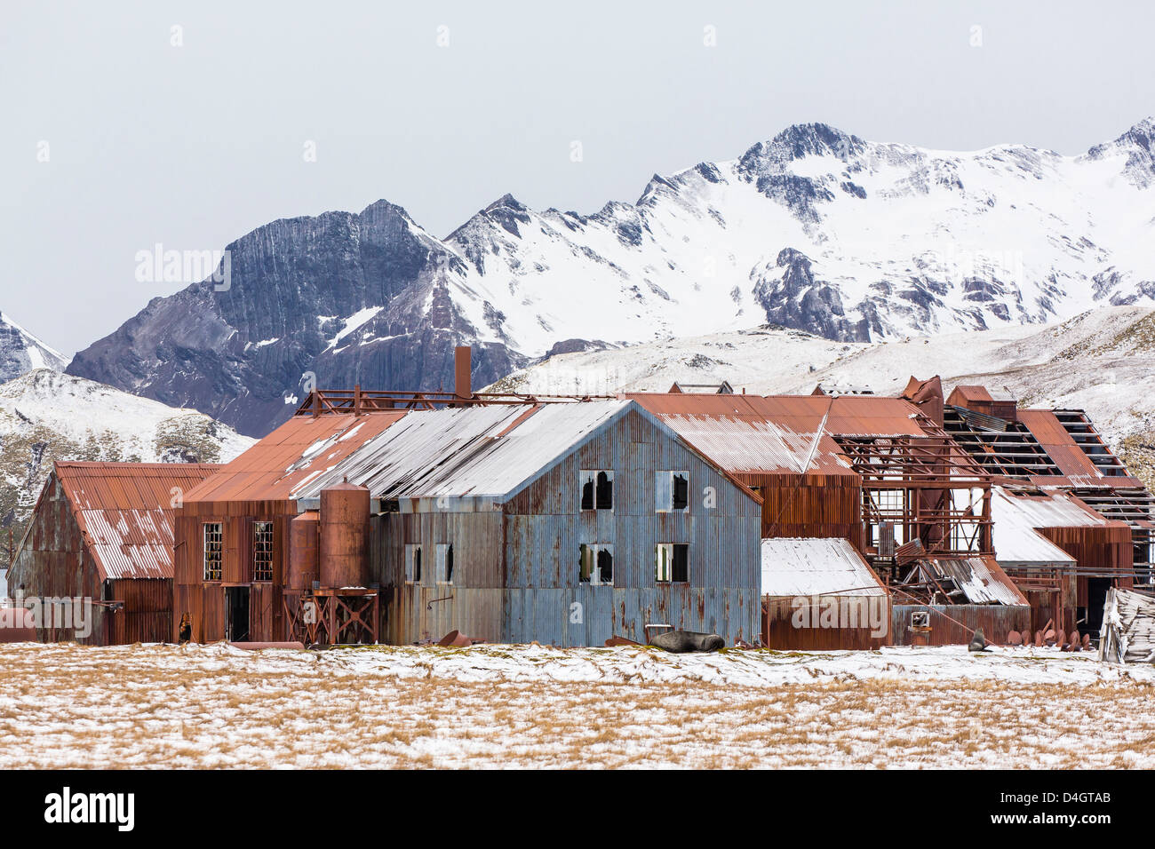 The abandoned Norwegian Whaling Station at Stromness Bay, South Georgia, South Atlantic Ocean, Polar Regions - Stock Image