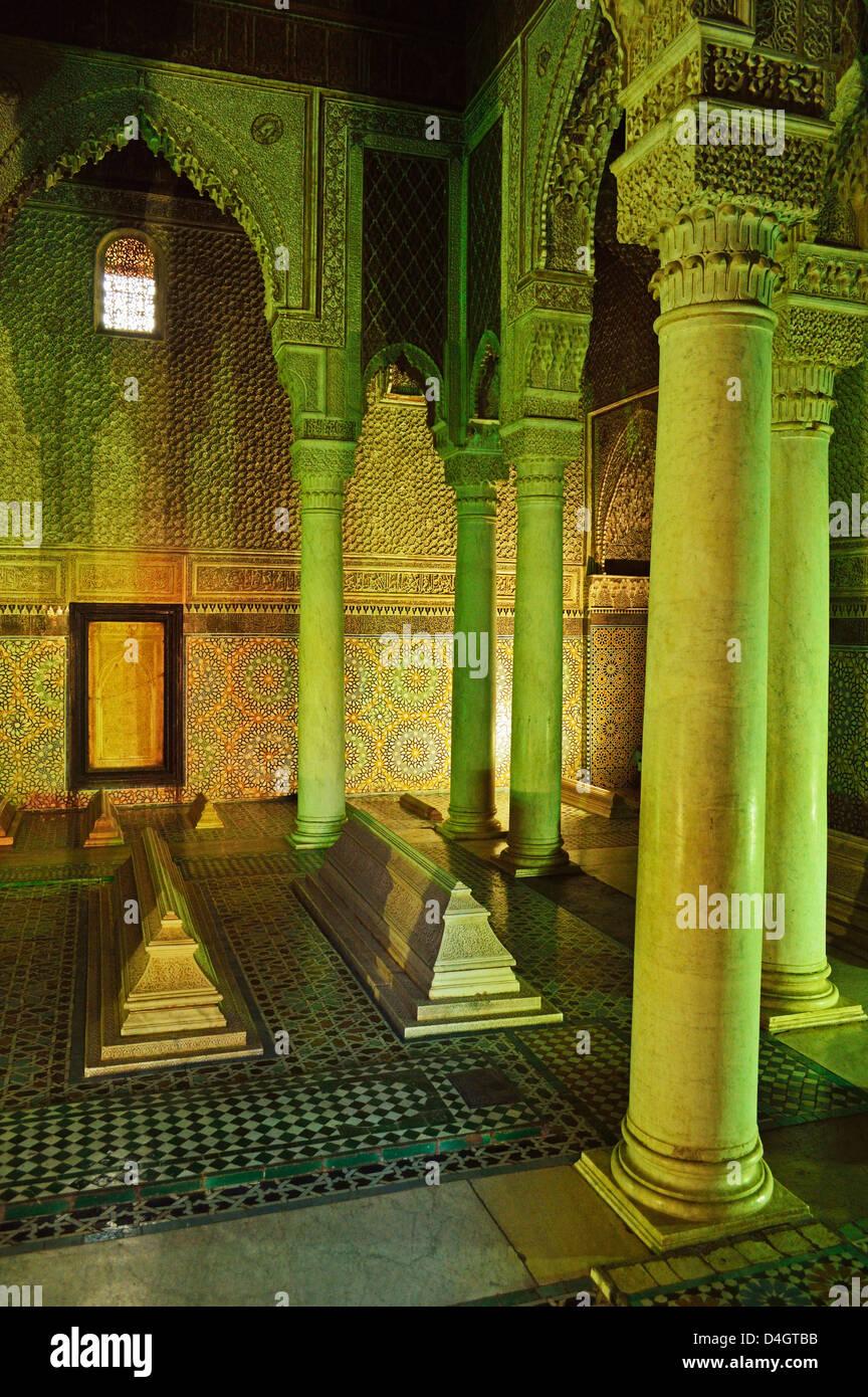 Saadian Tombs, Medina, Marrakesh, Morocco, North Africa - Stock Image
