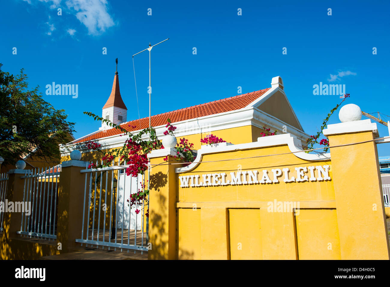 Dutch architecture in Kralendijk capital of Bonaire, ABC Islands, Netherlands Antilles, Caribbean - Stock Image