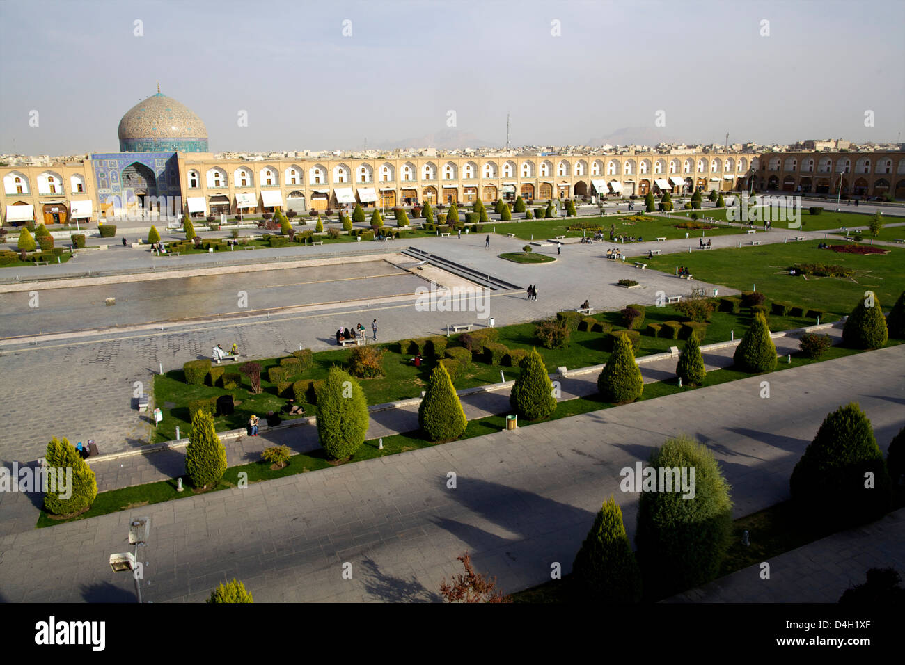 View over the Royal Square, UNESCO World Heritage Site, and the Sheikh Lotf Allah  Mosque of Isfahan, Iran, Middle - Stock Image