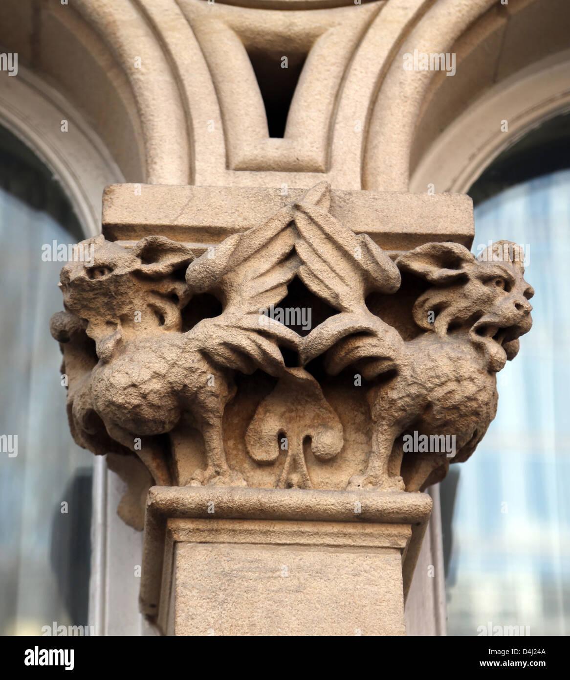 London England Mythical Creatures on Column of Keats House St Thomas Street London Bridge - Stock Image