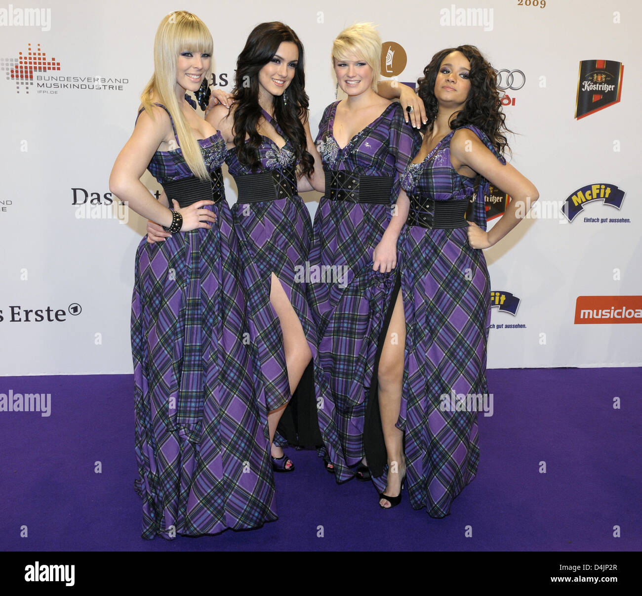 Members of band queensberry leo l r victoria vici antonella queensberry leo l r victoria vici antonella and gabriella arrive for the echo music award 2009 at o2 world in berlin germany 21 february 2009 voltagebd Images