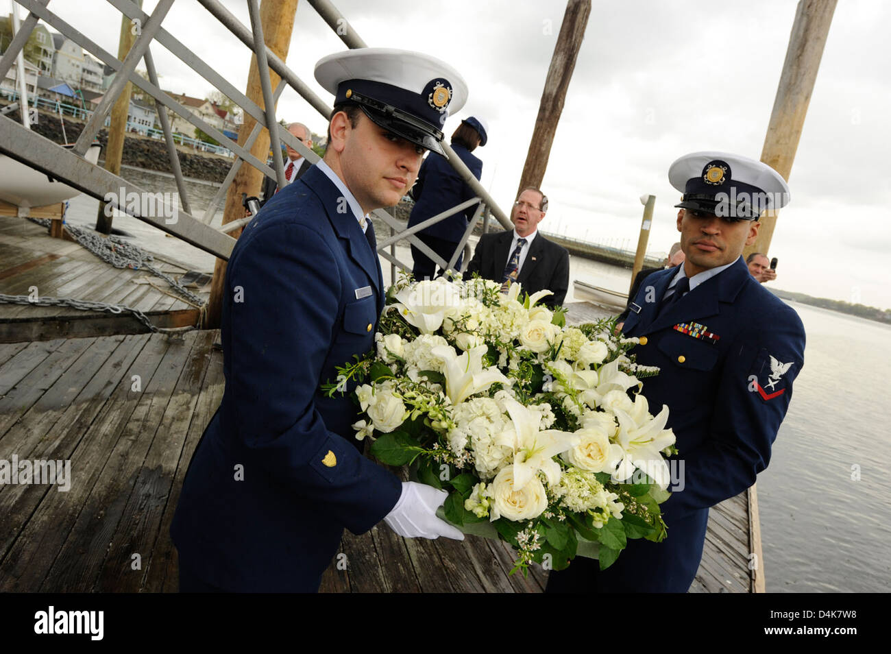 Laying a wreath in honor of William Vogt - Stock Image