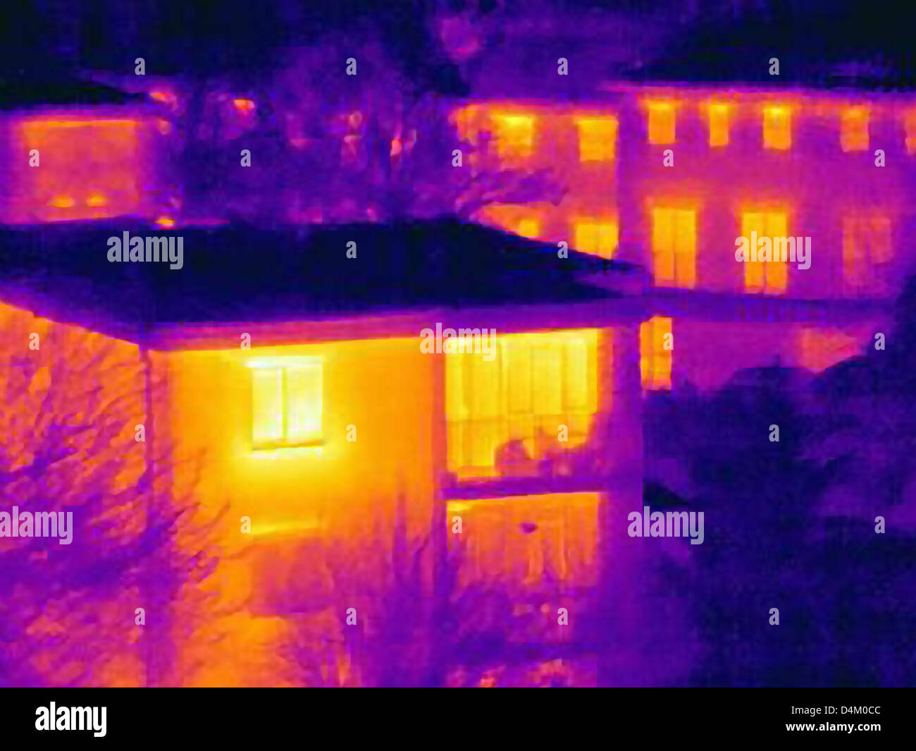 Thermal image of apartment buildings - Stock Image