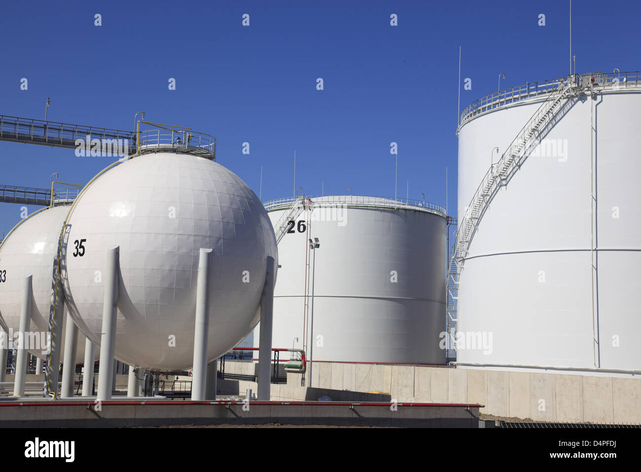 Large oil and gas tanks are pictured in the industrial harbour of Paldiski near Tallinn, Estonia, June 2009. Photo: - Stock Image