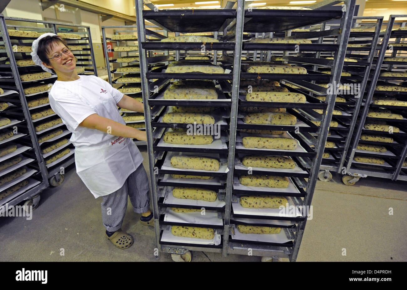 Baker Sandra Goering takes the first stollen of the new season to the oven at Annaberg Backwaren Gmbh, Germany, - Stock Image