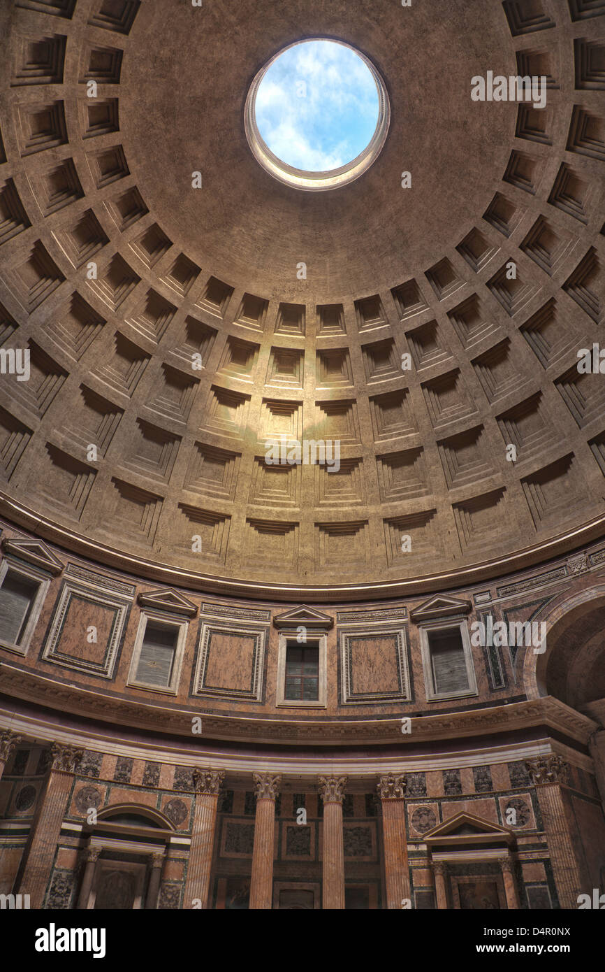 The dome of the Pantheon in Rome, Italy - Stock Image