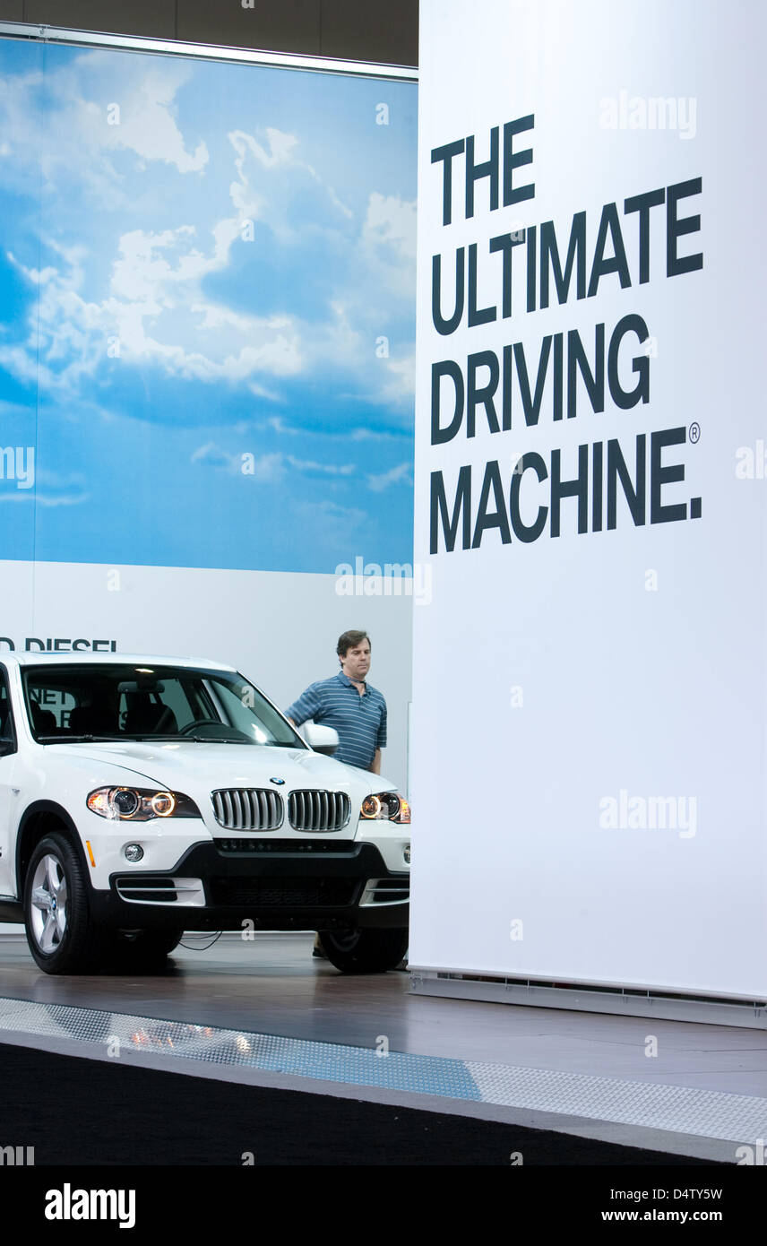 The lettering 'The Ultimate Driving Machine' is printed onto a wall of the BMW stand at the LA  Auto Show - Stock Image