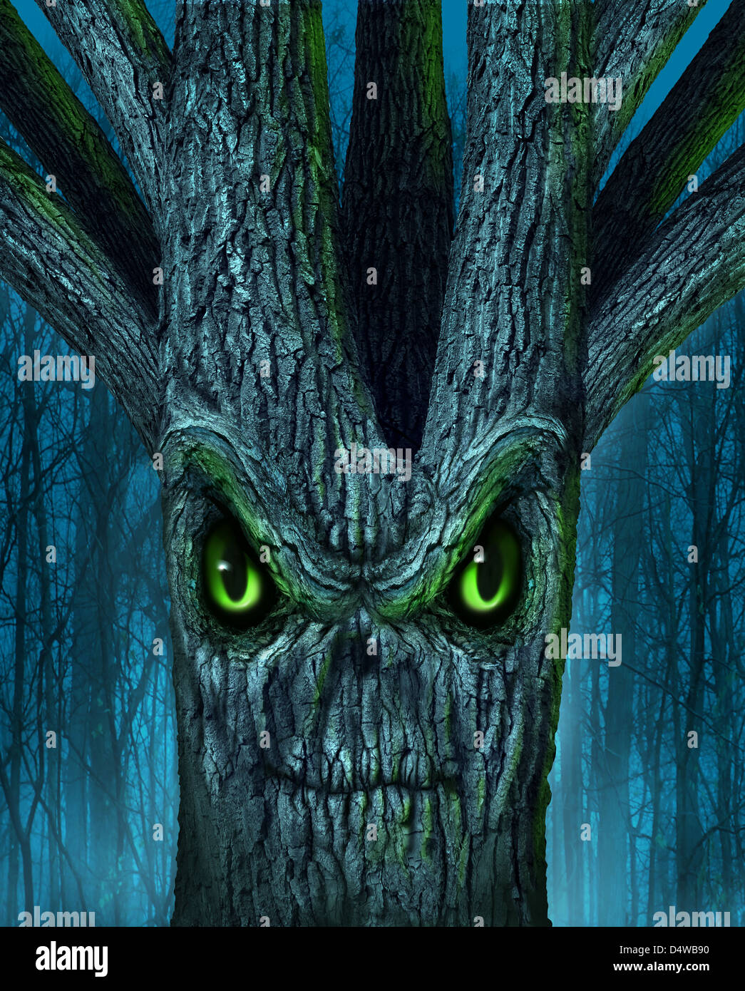 Haunted tree with a mythical dark forest and an evil plant shaped as a demon spirit skull face as a halloween or - Stock Image