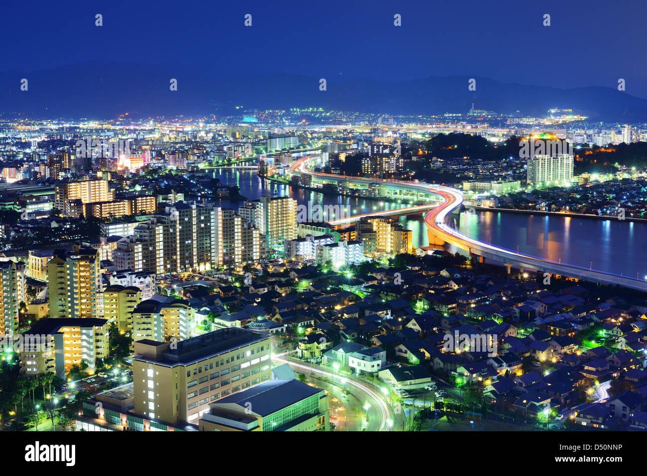 Skyline of Fukuoka, Japan at night. - Stock Image