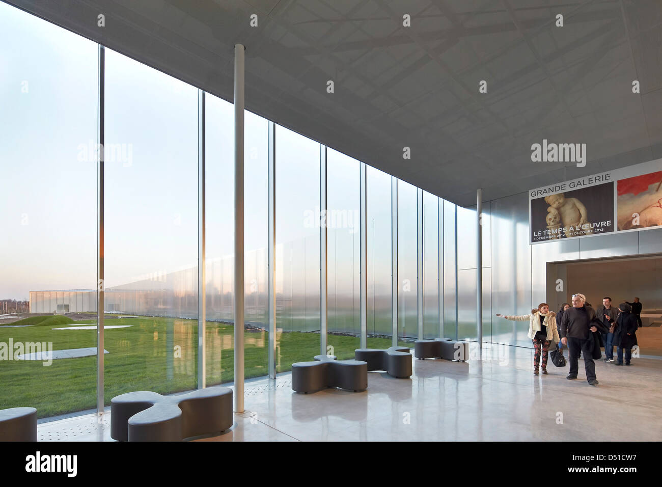 Musée Du Louvre  Lens, Lens, France. Architect: SANAA, 2012. Full-height glazing linking the interior with - Stock Image