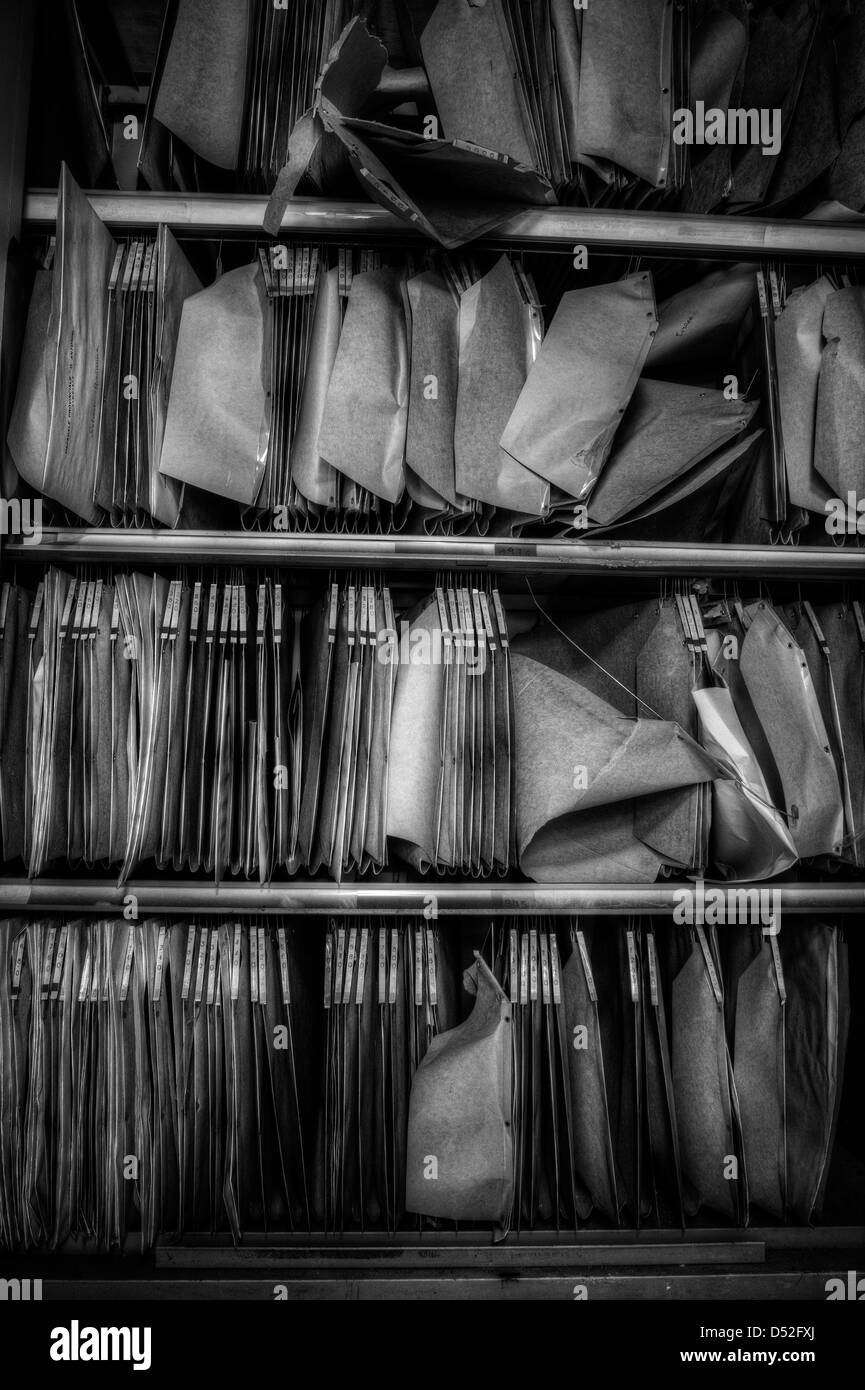 Old archive in abandoned psychiatric hospital - Stock Image