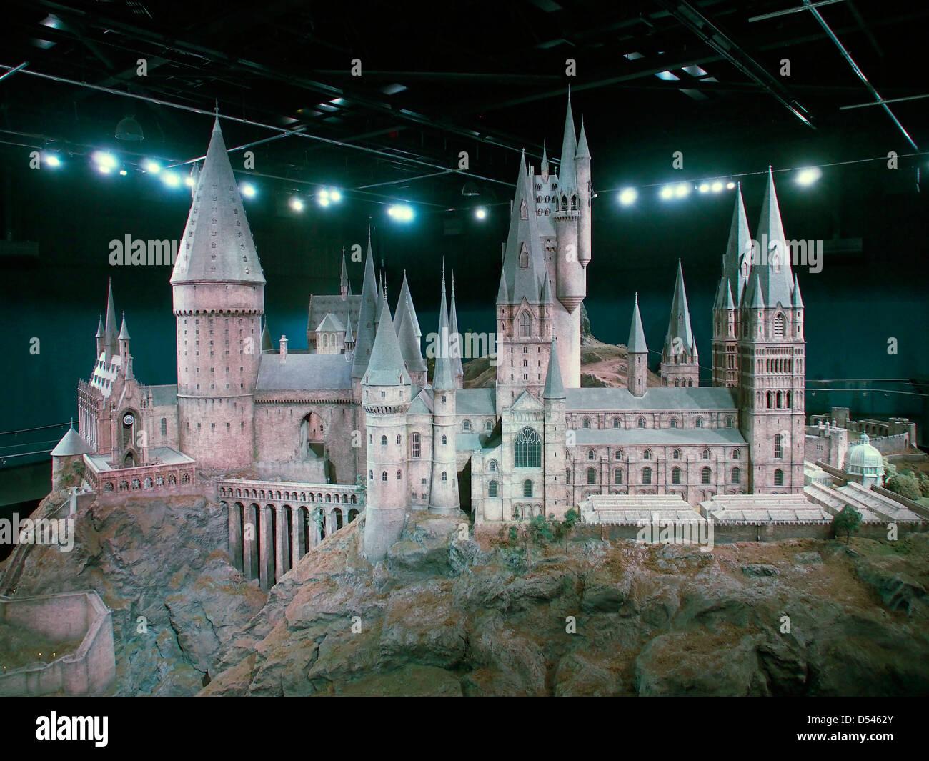Model of Hogwarts Castle on the Warner Brothers Studio UK. The making of Harry Potter back lot tour - Stock Image