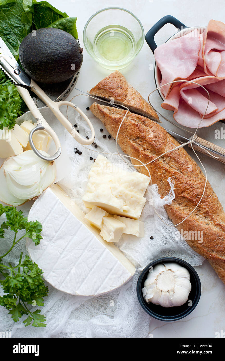 Bread, meat, cheese and oil - Stock Image
