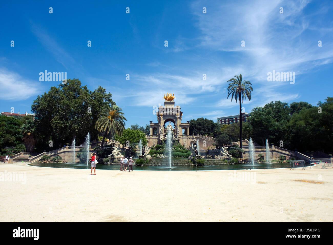 Fountain in Parc de la Ciutadella, Barcelona, Spain - Stock Image