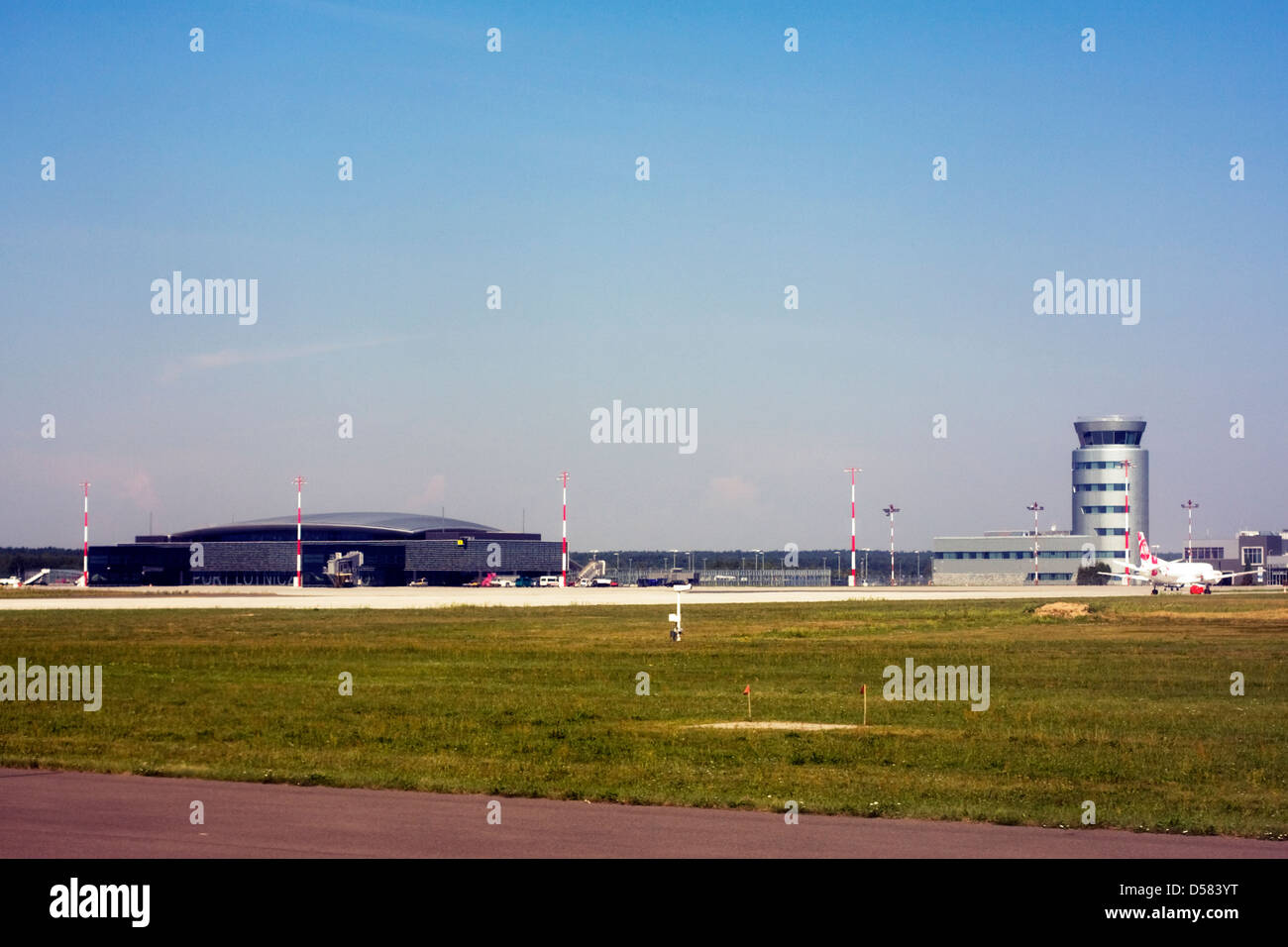 Terminal and control tower at Rzeszow Jasionka Airport, Rzeszow, Poland Stock Photo