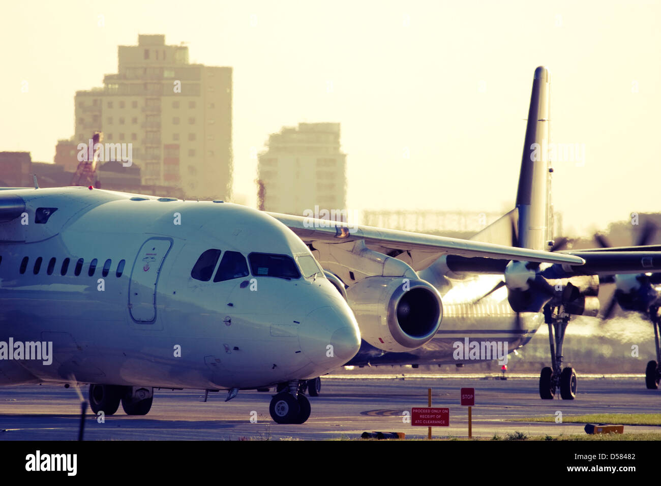 Commercial planes taxiing. Stock Photo
