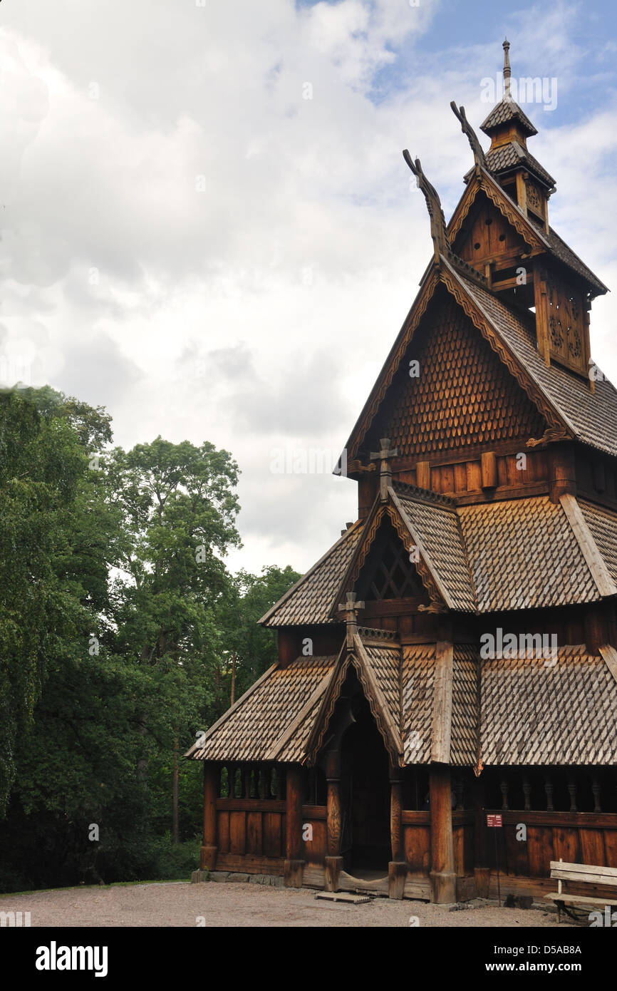 Gol stave church in Folks museum Oslo, old wooden church - Stock Image