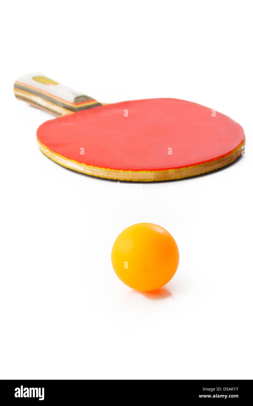 Table tennis racket and ball on white background - Stock Image