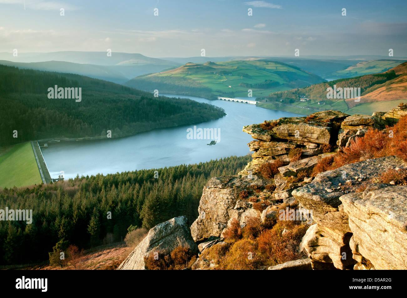 Ladybower Reservoir seen from Bamford Edge, The Peak District National Park. - Stock Image