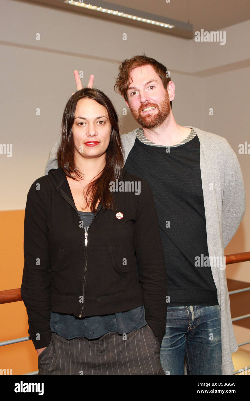 Michael Grubbs and Tanya Buziak of Wakey!Wakey! during a promotional visit to radio station Radio Hamburg. Hamburg Stock Photo