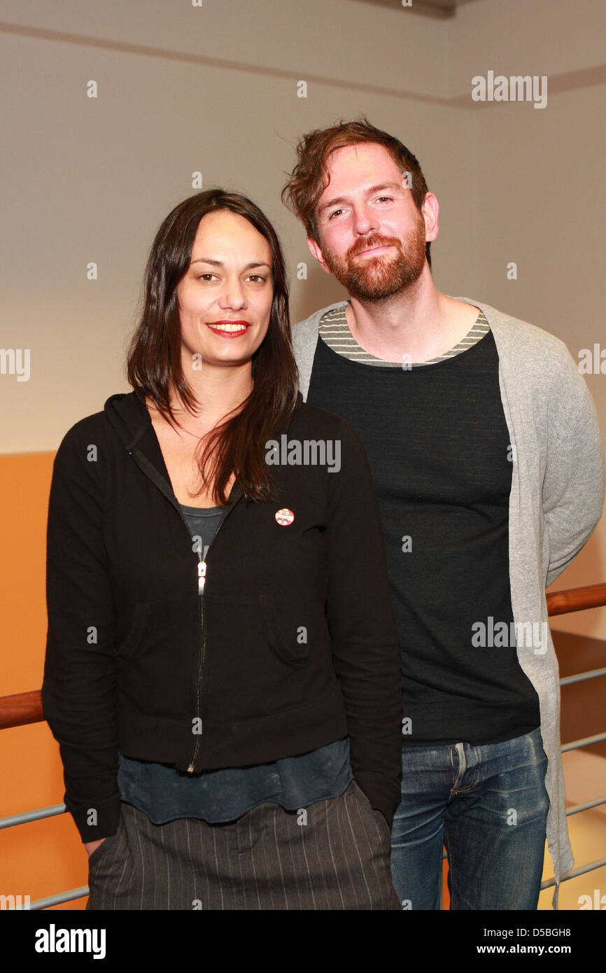 Michael Grubbs and Tanya Buziak of Wakey!Wakey! during a promotional visit to radio station Radio Hamburg. Hamburg, Stock Photo