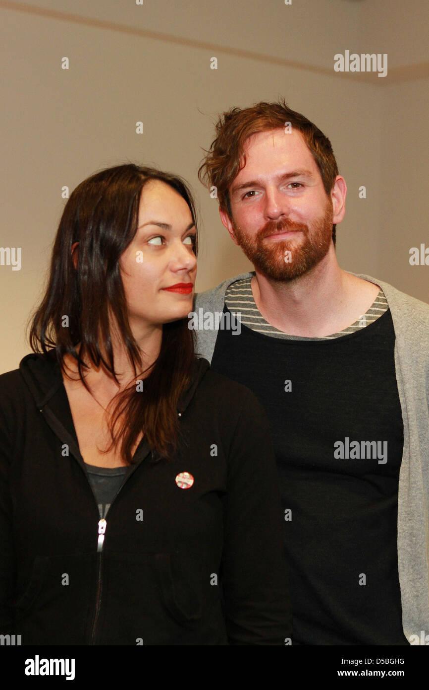 Michael Grubbs and Tanya Buziak of Wakey!Wakey! during promotional visit to radio station Radio Hamburg. Hamburg, Stock Photo