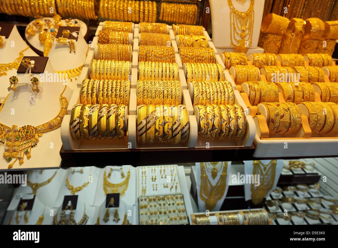 Gold Jewellery on sale Dubai Gold Souk Dubai United Arab Emirates