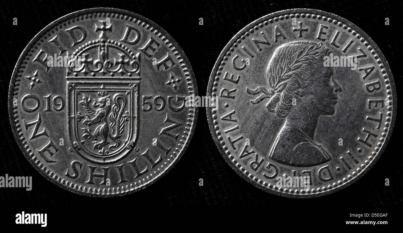 1 Shilling coin, Scottish shield, Queen Elizabeth II, UK, 1959 Stock Photo