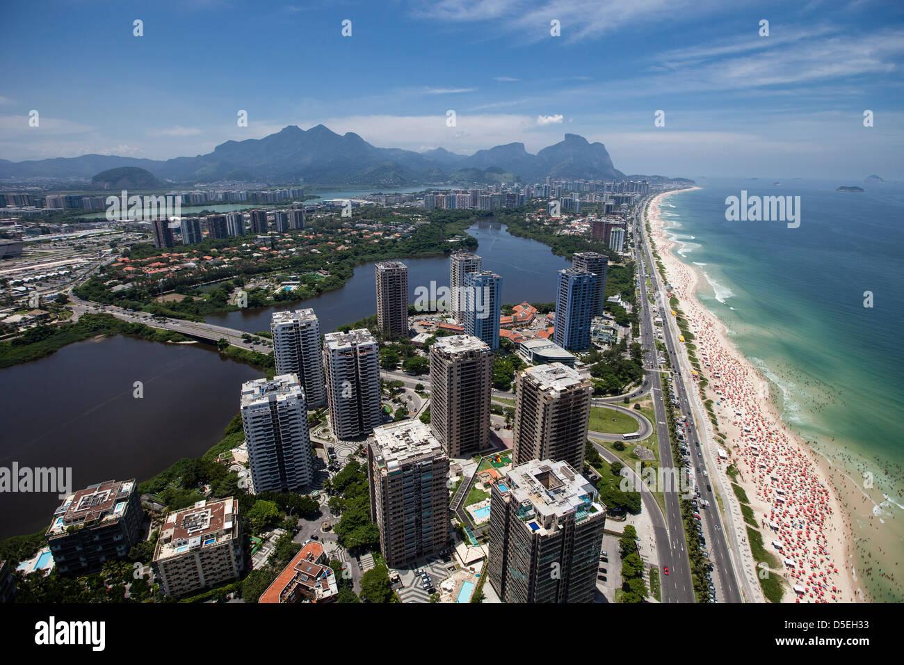 Barra da Tijuca borough in Rio de Janeiro, Brazil. Americanized lifestyle. Luxury condominiums with leisure infrastructure - Stock Image
