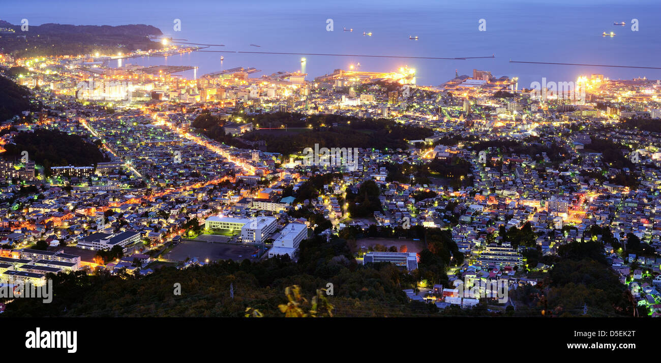 View of Otaru, Japan, considered one of the best in views in the northern Island of Hokkaido. - Stock Image