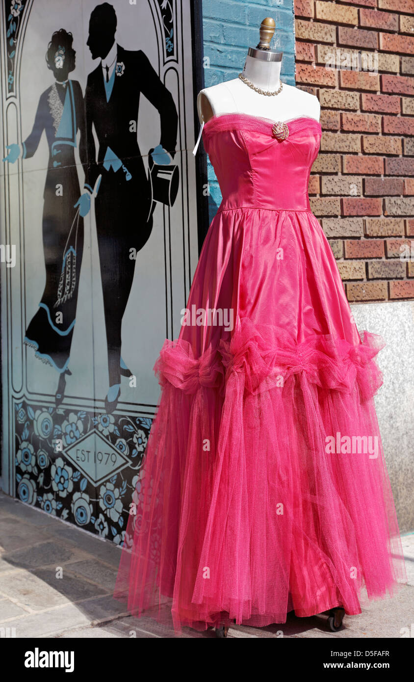 Vintage pink evening dress on a mannequin Stock Photo
